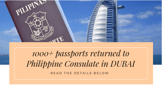 1000+ Of Passports Were Returned To Philippine Consulate In Dubai